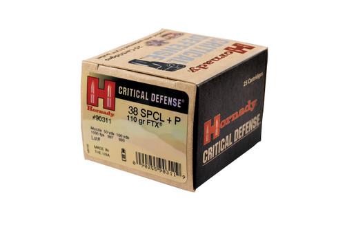 Hornady Critical Defense - 38 Special +P  110 Grain FTX - 250 Rounds -Brass Case