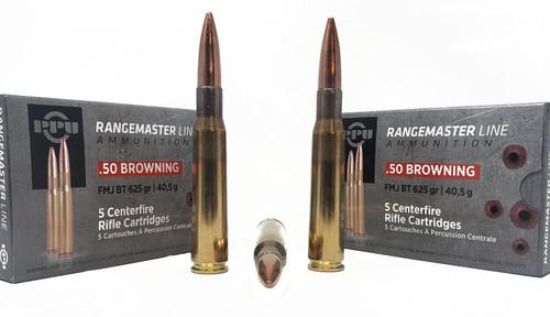 Prvi RangeMaster Ammunition - 50 BMG - 625 Grain Full Metal Jacket - 10 Rounds - Brass Case