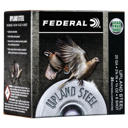 "Federal Upland Ammunition - 20 GA - 2 3/4"" - #6 Steel Shot - 250 Rounds - Case"