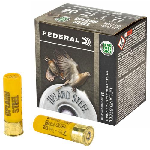 "Federal Upland Ammunition - 20 GA - 2 3/4"" - #7.5 Steel Shot - 250 Rounds - Case"