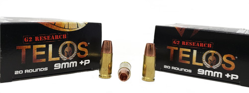 G2 Research Telos Ammunition - 9 MM Luger +P - 92 Grain Solid Copper Hollow Point - 40 Rounds W/ Free Ammo Can