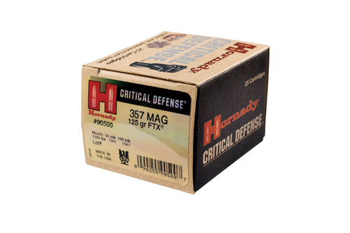 Hornady Critical Defense Ammunition 357 Magnum 125 Grain FTX - 250 Rounds - CASE