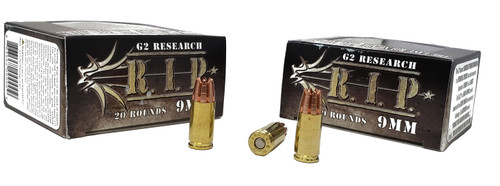 G2 Research R.I.P Ammunition - 9 MM Luger - 92 Grain Solid Copper Hollow Point - 40 Rounds W/ Free Ammo Can
