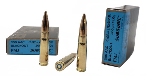 Sellier & Bellot Ammunition - 300 AAC Blackout Subsonic - 200 Grain Full Metal Jacket - 100 Rounds W/ Free Ammo Can