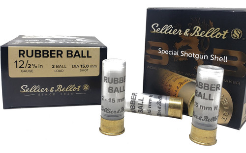 "Sellier & Bellot Ammunition - 12 Ga - 2 5/8"" - 2 Rubber Ball Load - 50 Rounds W/ Free Ammo Can"