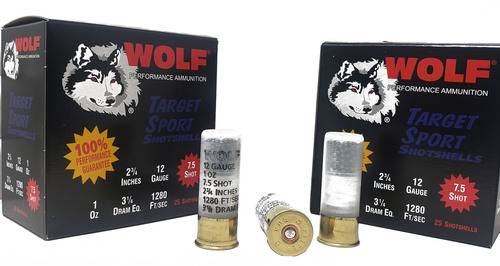 "Wolf Performance Ammunition - 12 Gauge  - 2 3/4"" - 7.5 Lead Shot - 250 Rounds - Case"