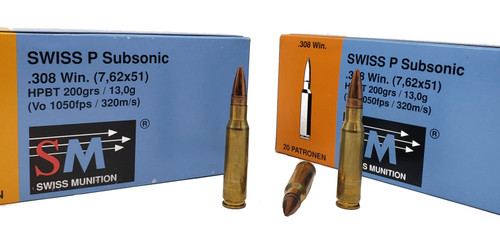 Swiss P Subsonic Ammunition - .308 Winchester - 200 Grain Hollow Point Boat Tail - 200 Rounds - Case