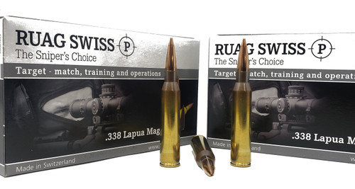 Swiss P Ammunition - 338 Lapua Mag - 250 Grain Hollow Point Boat Tail - 100 Rounds - Brass Case