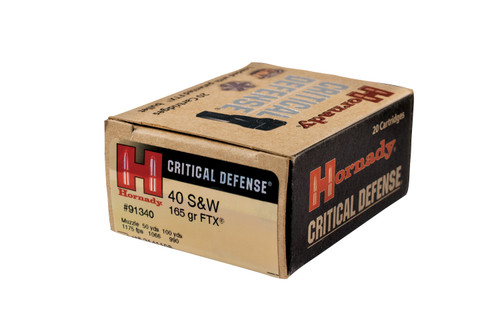 Hornady Critical Defense - 40 S&W 165 Grain FTX - 200 Rounds - Brass Case