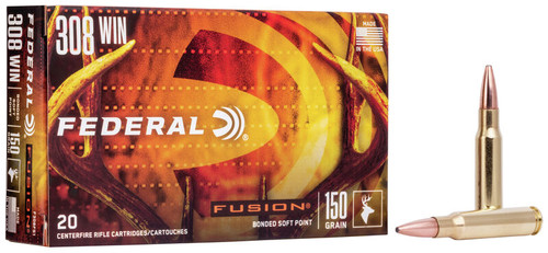 Federal Fusion Ammunition - 308 Winchester - 150 Grain Bonded Soft Point - 100 Rounds W/ Free Ammo Can