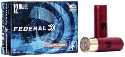 """Federal Power-Shok Ammunition - 12 Gauge -3"""" - 00 Buck 15 Pellets - 50 Rounds"""