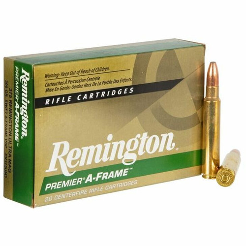 Remington Premier Ammunition - 375 Remington Ultra Mag - 300 Grain Swift  A-Frame PSP - 40 Rounds W/ Free Ammo Can