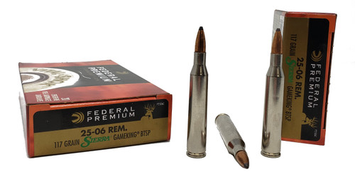 Federal Premium Ammunition - 25-06 Remington - 117 Grain Sierra Boat Tail Soft Point - 80 Rounds W/ Free Ammo Can