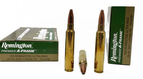 Remington Premier Ammunition - 338 Remington Ultra Mag - 250 Grain Swift A-Frame Soft Point - 40 Rounds W/ Free Ammo Can