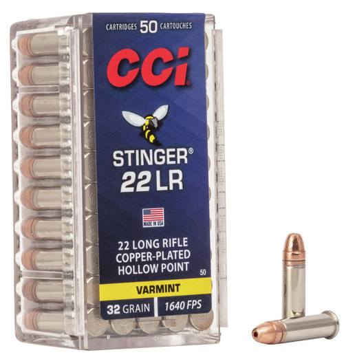 CCI Stinger Ammunition - 22 Long Rifle - 32 Grain Copper Plated Hollow Point - 500 Rounds W/ Free Ammo Can