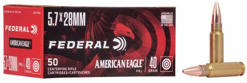 Federal American Eagle -  5.7x28mm - 40 Grain Full Metal Jacket - 100 Rounds - Brass Case W/ Free Ammo Can