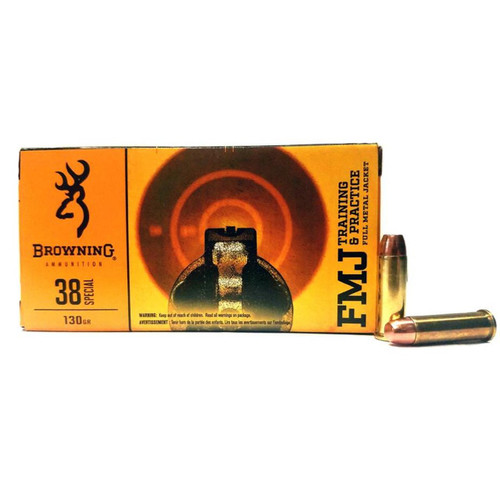 Browning Ammunition - 38 Special - 130 Grain - Full Metal Jacket - 50 Rounds W/ Free Ammo Can