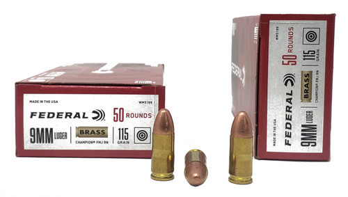 Federal Champion Ammunition - 9 MM Luger - 115 Grain Full Metal Jacket - 100 Rounds W/ Free Ammo Can
