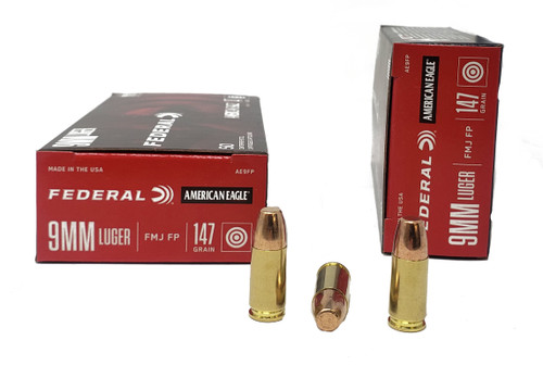 Federal American Eagle Ammunition - 9 MM - 147 Grain Full Metal Jacket - 100 Rounds W/ Free Ammo Can