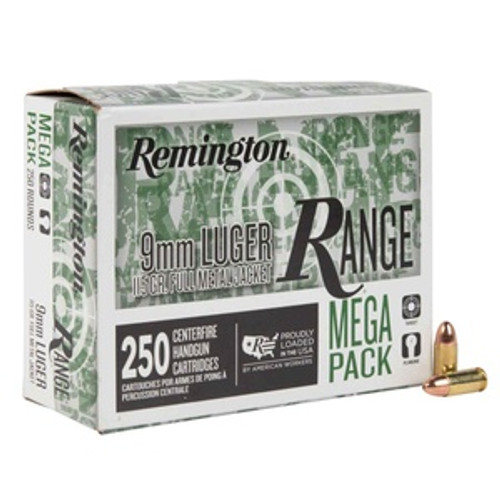 Remington Ammunition -  9mm Luger - 115 Grain Full Metal Jacket  - 250 Rounds W/ Free Ammo Can