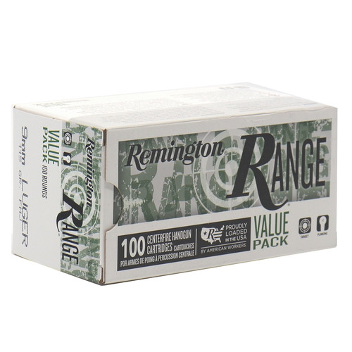 Remington Ammunition -  9mm Luger - 115 Grain Full Metal Jacket  - 100 Rounds W/ Free Ammo Can