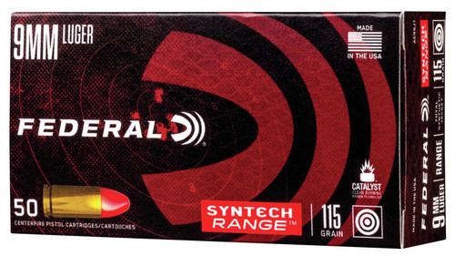 Federal Syntech Range Ammunition - 9 MM Luger - 115 Grain Total Syntech Jacket - 100 Rounds W/ Free Ammo Can