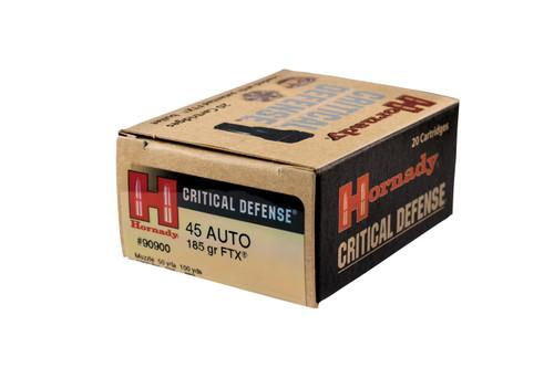 Hornady Critical Defense - 45 ACP 185 Grain FTX - 200 Rounds - Brass Case