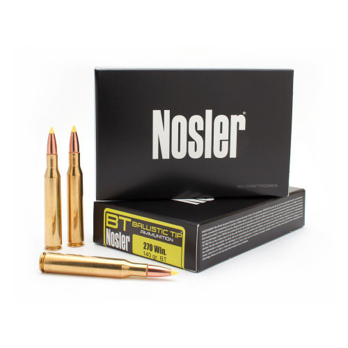 Nosler Ballistic Tip Ammunition - 270 Winchester - 140 Grain Ballistic Tip - 40 Rounds