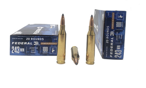 Federal PowerShok Ammunition - 243 Winchester - 100 Grain Jacketed Soft Point - 40 Rounds W/ Free Ammo Can