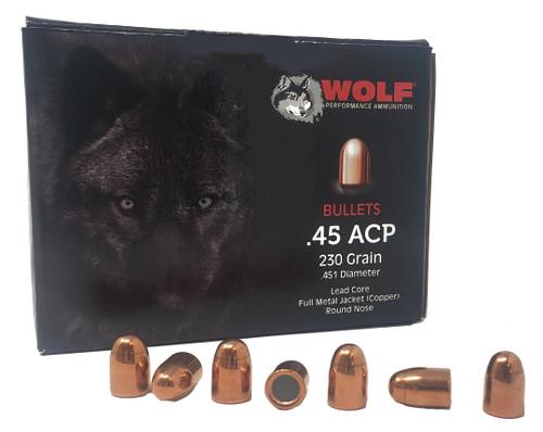 Wolf Performance Ammunition Projectiles - 45 Auto - 230 Grain Full Metal Jacket - 250 Projectiles