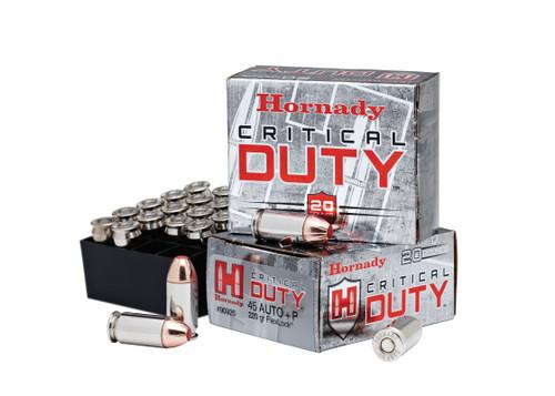 Hornady Critical Duty Ammunition - 45 ACP +P - 220 Grain FlexLock - 20 Rounds - Nickel Plated Brass Case