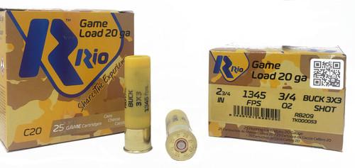 "Rio Game Load Ammunition - 20 Gauge - 2 3/4"" - 3/4 oz. - 1 Buck - 50 Rounds"