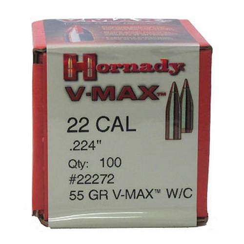 "Hornady Bullets - .224"" (22 Cal) - 55 Grain V-Max W/C - 100 Projectiles"