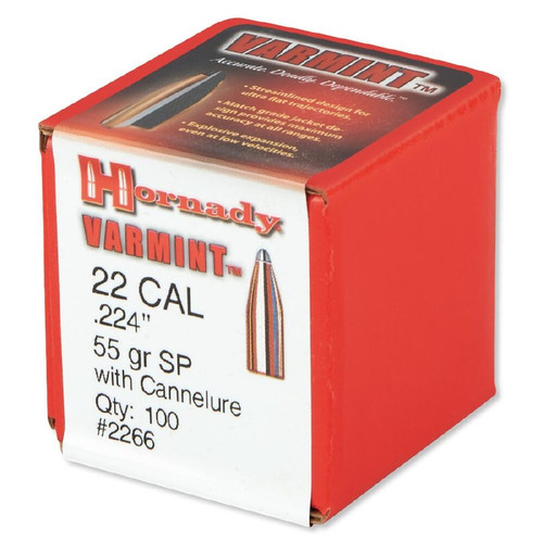 "Hornady Bullets - .224"" (22 Cal) - 55 Grain Soft Point - 100 Projectiles"