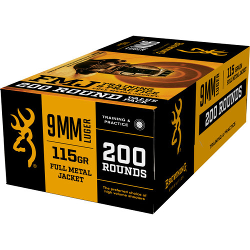 Browning Ammunition - 9 MM - 115 Grain Full Metal Jacket - 400 Rounds W/ Free Ammo Can