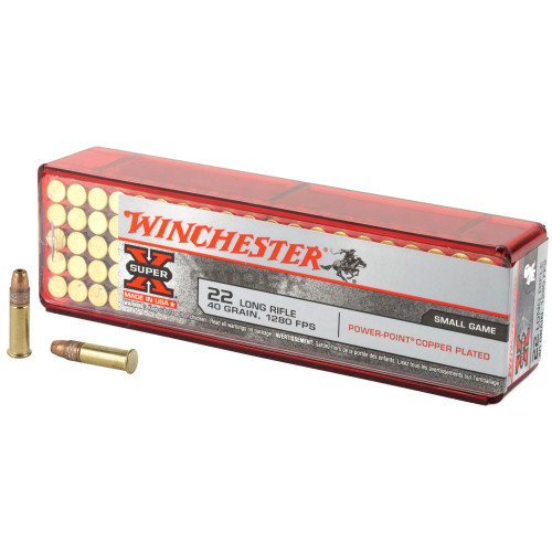 Winchester Super-X Ammunition - 22 Long Rifle - 40 Grain Power Point Copper Plated - 1000 Rounds W/ Free Ammo Can