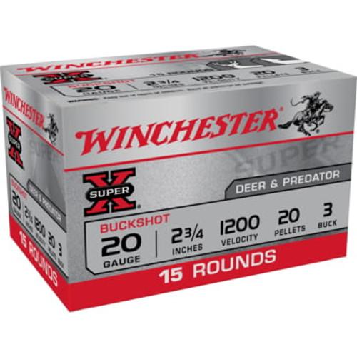 "Winchester Super X Ammunition - 20 Gauge - 2 3/4"" - 3 Buck 20 Pellets - 30 Rounds W/ Free Ammo Can"