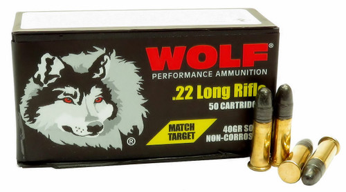 Wolf Performance Ammunition - 22 Long Rifle Match Target - 40 Grain Lead Round Nose - 500 Rounds W/ Free Ammo Can