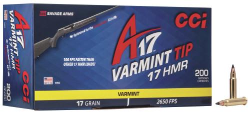 CCI A17 Ammunition - 17 HMR - 17 Grain Varmint Tip - 200 Rounds W/ Free Ammo Can