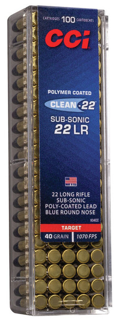 CCI Clean-22 Ammunition - 22 Long Rifle - 40 Grain Poly Coated Lead Blue Round Nose - 1000 Rounds W/ Free Ammo Can
