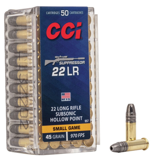 CCI Suppressor Ammunition - 22 Long Rifle - 45 Grain Subsonic Hollow Point - 500 Rounds W/ Free Ammo Can