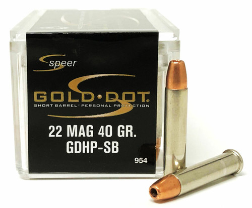 Speer Gold Dot Ammunition - 22 Win Mag - 40 Grain Gold Dot Hollow Point - 500 Rounds W/ Free Ammo Can