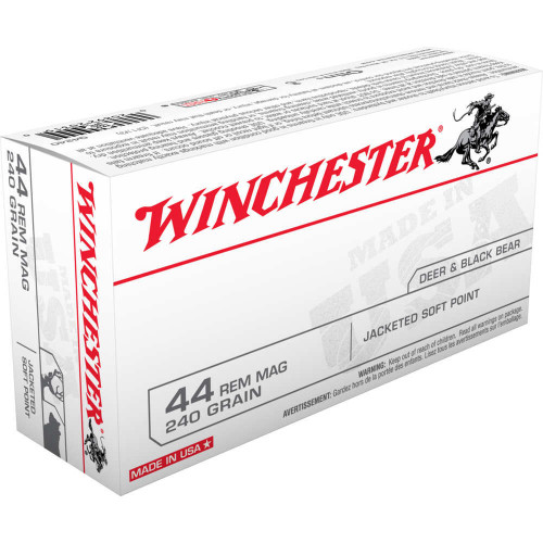 Winchester Ammunition - 44 Rem Mag - 240 Grain Jacketed Soft Point - 50 Rounds W/ Free Ammo Can