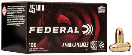 Federal American Eagle Ammunition - 45 Auto - 230 Grain Full Metal Jacket - 100 Rounds W/ Free Ammo Can