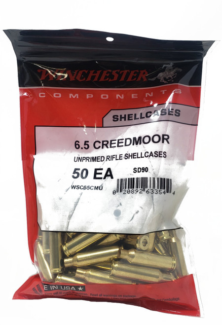 Winchester Components - 6.5 Creedmoor - Unprimed Rife Shell Casings - 50 Pieces