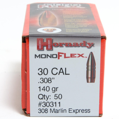 "Hornady MonoFlex Bullets - 30 Cal (.308"") - 308 Marlin Express - 140 Grain MonoFlex (Lead Free) - 50 Projectiles"