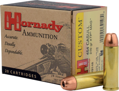 Hornady Custom Ammunition - 454 Casull - 240 Grain XTP Jacketed Hollow Point - 20 Rounds - Brass Case