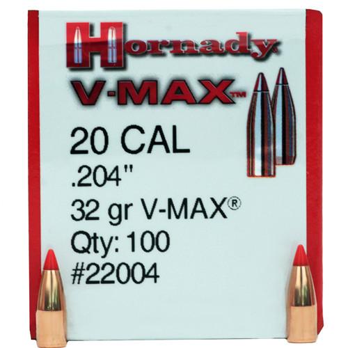"Hornady Bullets - .204"" (20 Cal) - 32 Grain V-Max - 100 Projectiles"