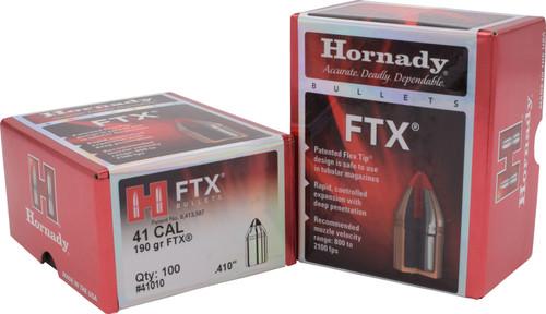 "Hornady Pistol Bullets - .410"" (41 Cal) - 190 Grain FTX - 100 Projectiles"