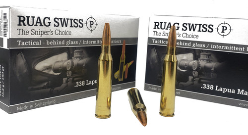 Swiss P Ammunition - 338 Lapua Mag - 250 Grain Solid Copper Flat Nose - 20 Rounds - Brass Case